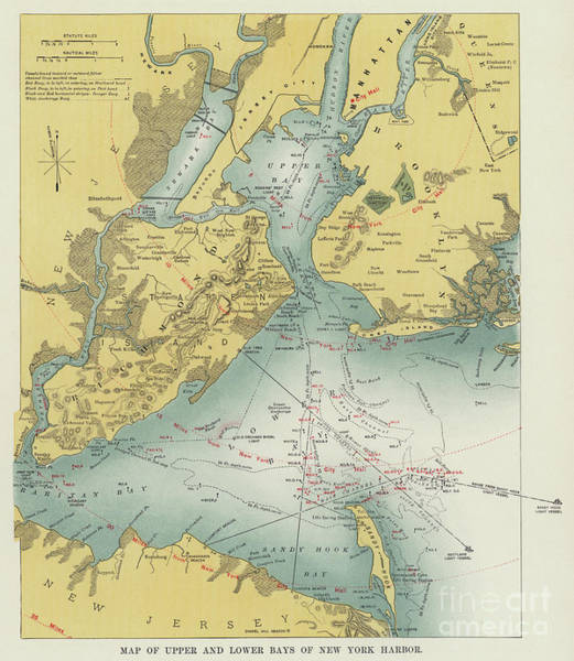 New York City Map Drawing - Vintage Map Of Upper And Lower Bays Of New York Harbor by American School