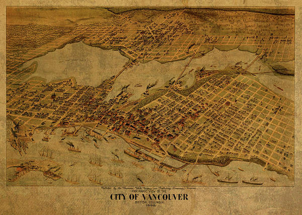 Vancouver Mixed Media - Vintage Map Of Vancouver British Columbia Canada 1898 by Design Turnpike