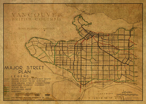 Vancouver Mixed Media - Vintage Map Of Vancouver Canada 1946 by Design Turnpike