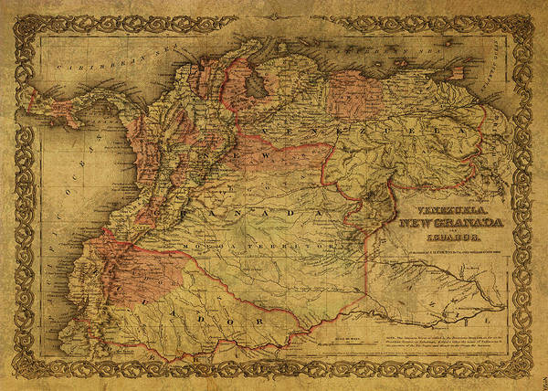 South America Mixed Media - Vintage Map Of Venezuela Columbia And Ecuador 1855 by Design Turnpike