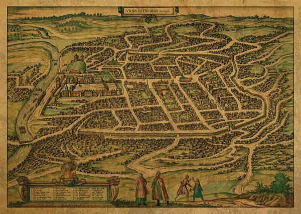 Vintage Map Of Vilnius Lithuania 1600 Art Print