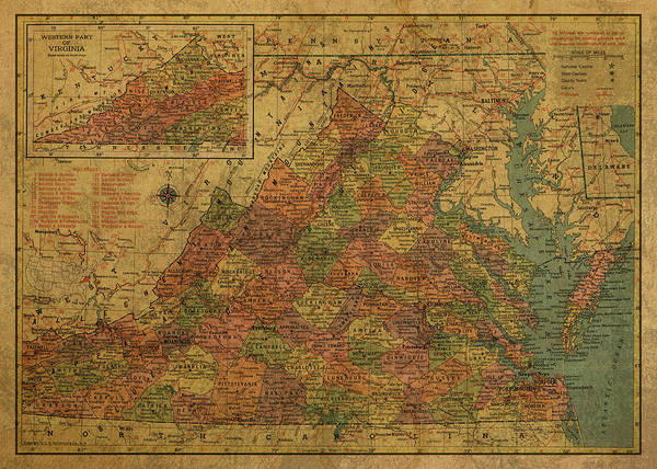 Wall Art - Mixed Media - Vintage Map Of Virginia 1958 by Design Turnpike