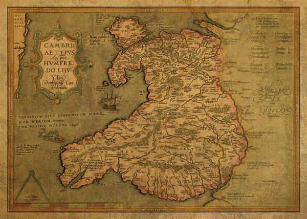 Wales Mixed Media - Vintage Map Of Wales 1579 by Design Turnpike