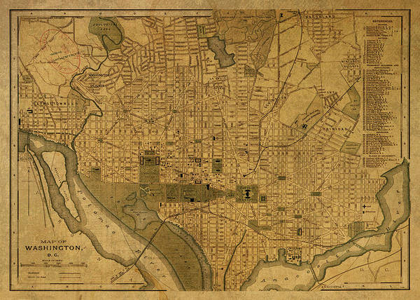 Wall Art - Mixed Media - Vintage Map Of Washington Dc 1893 by Design Turnpike