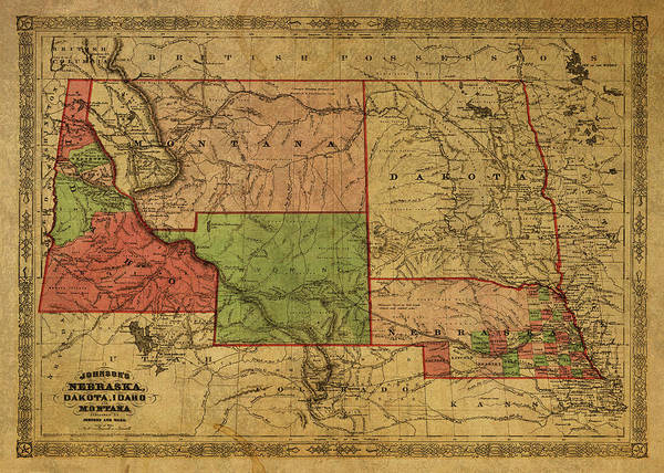 Wall Art - Mixed Media - Vintage Map Of Western States Usa 1866  by Design Turnpike