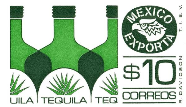 Wall Art - Digital Art - Vintage Mexico Tequila Postage Stamp  by Retro Graphics