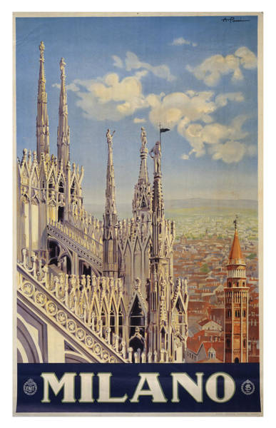 Wall Art - Photograph - Vintage Milano Italy Travel Poster by Ricky Barnard