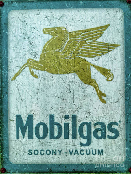 Wall Art - Photograph - Vintage Mobil Gas Sign by Paul Ward