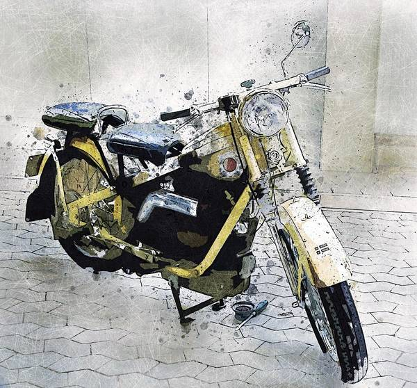 Wall Art - Painting - Vintage Motorcycle by ArtMarketJapan