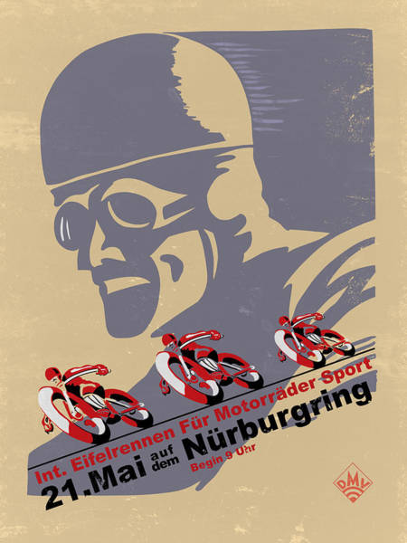 Photograph - Vintage Motorcycle Races Nurburgring by Mark Rogan