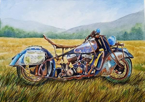 Wall Art - Painting - Vintage Motorcycle  by Virginia Plowman