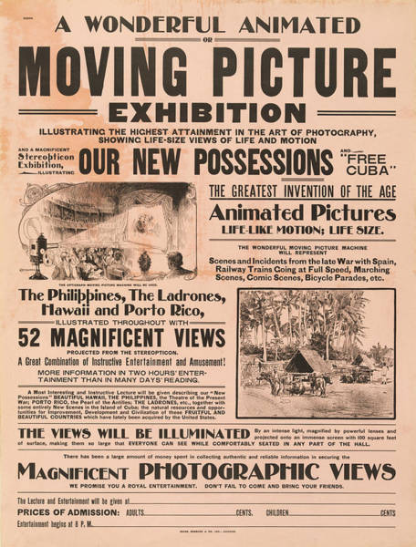 Photograph - Vintage Moving Picture Exibition Advert by Digital Reproductions