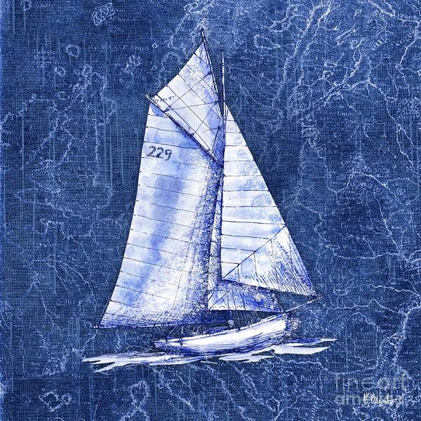 Wall Art - Painting - Vintage Nautical Vi - Indigo by Paul Brent