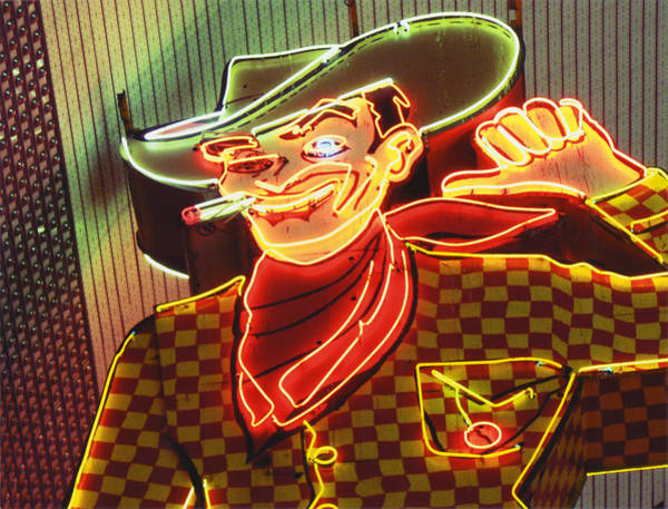 Photograph - Vintage Neon Sign Of Las Cowboy by Jena Ardell