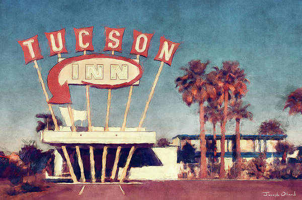 Neon Sign Painting - Vintage Neon Sign - The Tucson Inn by Joseph Oland