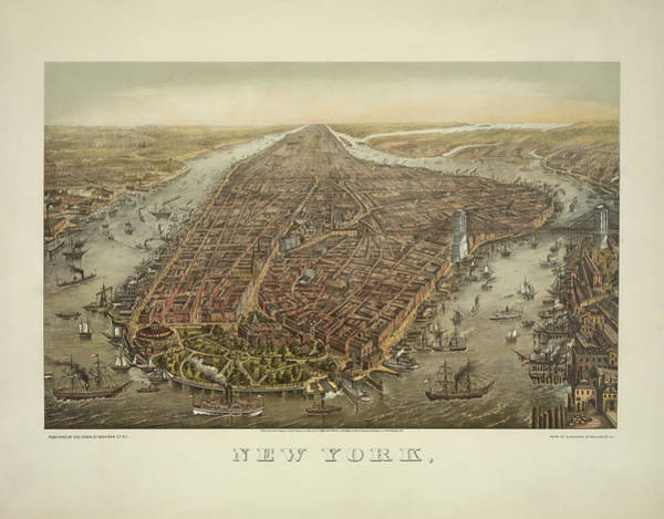 Wall Art - Painting - Vintage New York City - Bird's Eye View - 1874 by War Is Hell Store