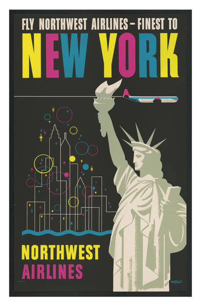 Wall Art - Photograph - Vintage New York Northwest Airlines Travel Poster by Ricky Barnard