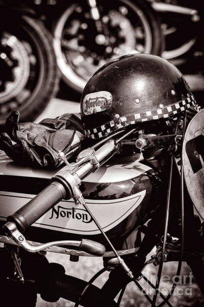 Photograph - Vintage Norton And Helmet by Tim Gainey