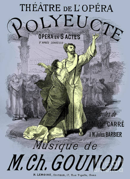 Wall Art - Drawing - Vintage Opera Poster For Polyeucte by French School