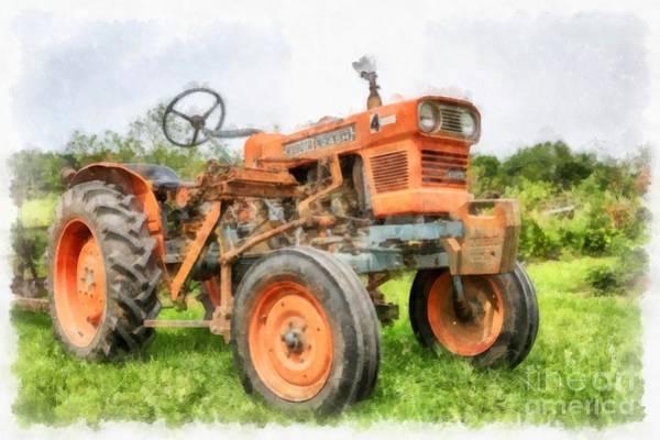 Wall Art - Digital Art - Vintage Orange Farm Tractor In Vermont by Edward Fielding