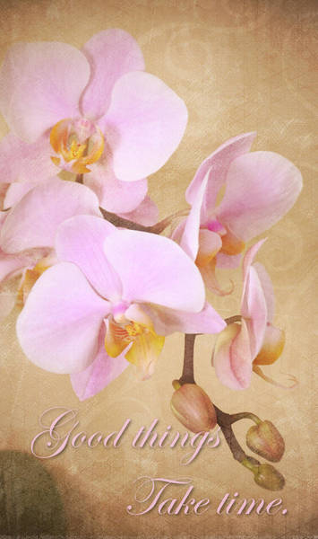 Photograph - Vintage Orchids - Good Things, Take Time by Angie Tirado
