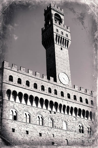 Photograph - Vintage Palazzo Vecchio In Florence by John Rizzuto