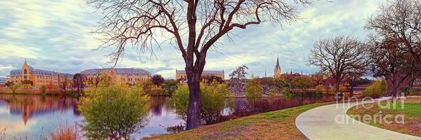 Photograph - Vintage Panorama Of Elmenderf Lake And Our Lady Of The Lake University - San Antonio Texas by Silvio Ligutti