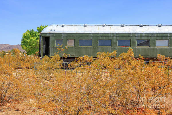 Wall Art - Photograph - Vintage Passenger Train Car In The Desert by Edward Fielding