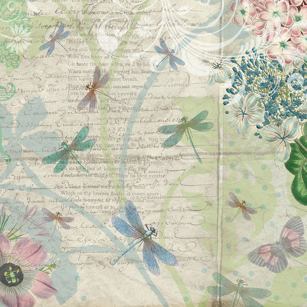 Drawing - Vintage Pastel Dragonflies Botanical by Peggy Collins