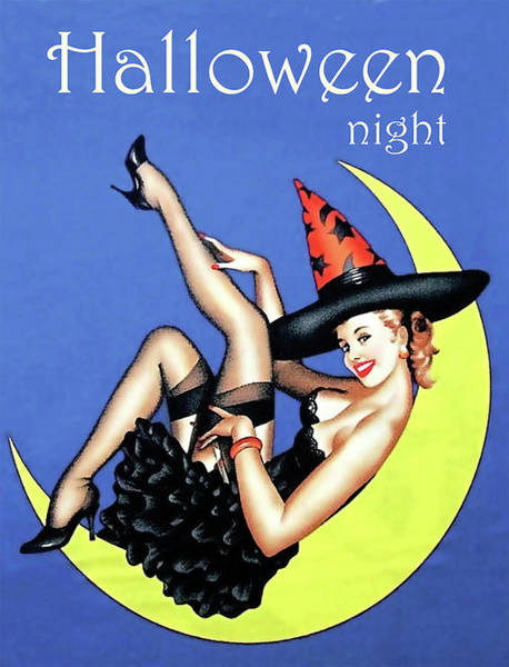 Photograph - Vintage Pin-up Witch On Moon by Doc Braham
