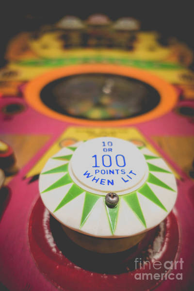 Wall Art - Photograph - Vintage Pinball 100 Points When Lit by Edward Fielding