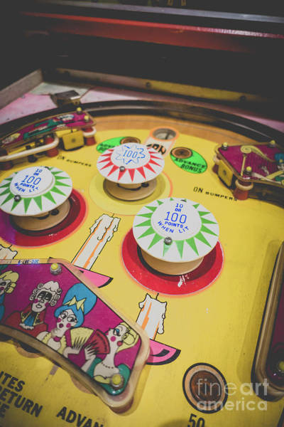 Wall Art - Photograph - Vintage Pinball Playfield Yellow by Edward Fielding