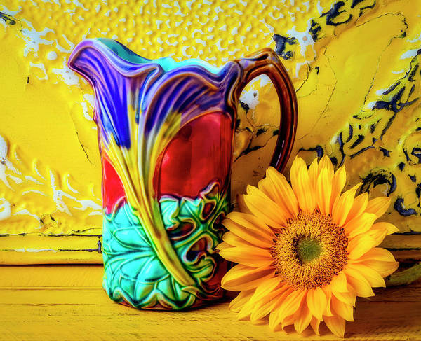 Wall Art - Photograph - Vintage Pitcher And Sunflower by Garry Gay