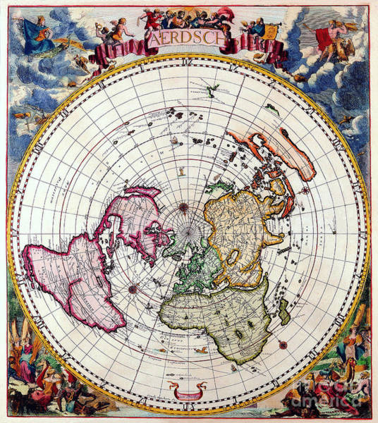 Wall Art - Photograph - Vintage Polar Projection Map by Delphimages Photo Creations