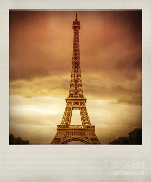 Wall Art - Photograph - Vintage Polaroid Photo Of Eiffel Tower, Paris, France, Europe by Bernard Jaubert