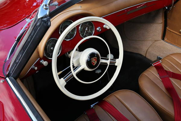 Photograph - Vintage Red Convertible Interior by Debi Dalio