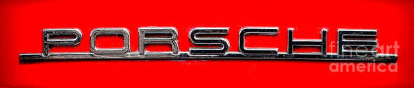 Wall Art - Photograph - Vintage Porsche Nameplate by Olivier Le Queinec