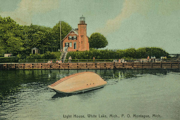 Photograph - Vintage Post Card Photo Circa 1910 Of The White River Lighthouse by Randall Nyhof
