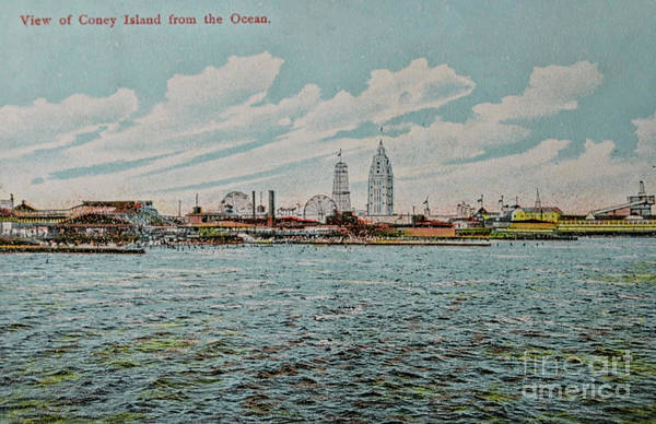 Wall Art - Photograph - Vintage Postcard With View On Coney Island by Patricia Hofmeester