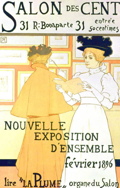 Wall Art - Drawing - Vintage Poster Advertising A Exhibition At The Salon Des Cent, 1896  by Armand Rassenfosse