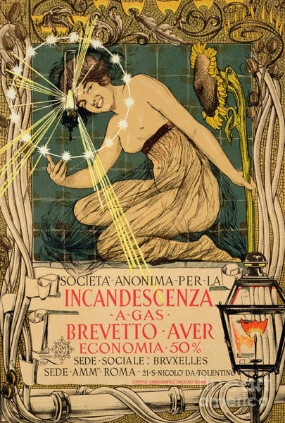 Wall Art - Painting - Vintage Poster Advertising Incandescent Gas Lamps, 1895 by Giovanni Maria Mataloni
