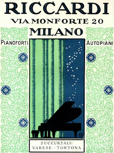 Wall Art - Painting - Vintage Poster Advertising Riccardi Pianos, 1928 by Italian School