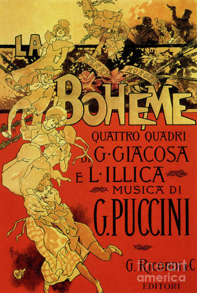 Wall Art - Drawing - Vintage Poster By Adolfo Hohenstein For Opera La Boheme By Giacomo Puccini by Adolfo Hohenstein