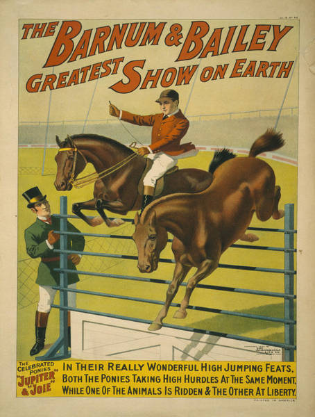 High Jump Painting - Vintage Poster - Circus High Jumping Horses by Vintage Images