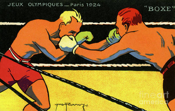 Boxing Painting - Vintage Poster For 1924 Paris Olympics Showing Two Boxers Boxing by French School