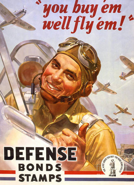 Wall Art - Painting - Vintage Poster For Defense Bonds Stamps by American School