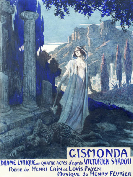 Maiden Wall Art - Drawing - Vintage Poster For Gismonda, Lyrical Drama, Libretto By Henri Cain And Louis Payen by Georges Rochegrosse