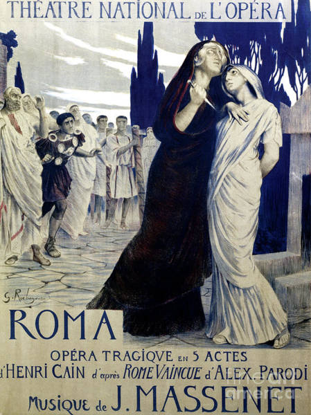 Wall Art - Painting - Vintage Poster For Rome, Tragic Opera, Libretto By Henri Cain, Music By Jean Massenet by Georges Rochegrosse