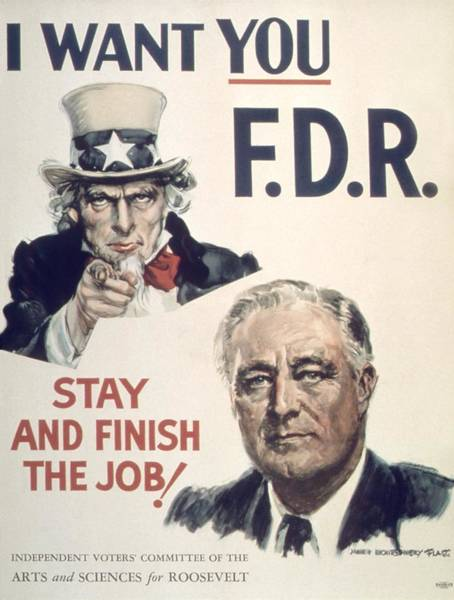 Fdr Painting - Vintage Poster - I Want You Fdr by Vintage Images