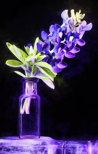 Flowers In A Vase Photograph - Vintage Purple Bottle Still Life by JC Findley